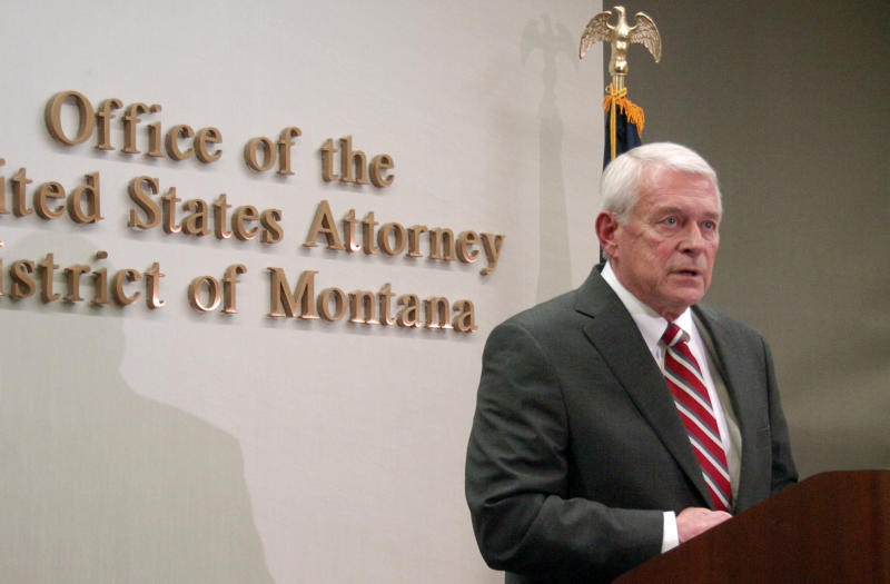 U.S. Attorney for Montana Mike Cotter announcing 16 drug-related arrests in Montana and North Dakota as part of law enforcement efforts to stem drug trafficking in the booming Bakken oil patch, on Friday, Oct. 11, 2013 in Billings, Mont. Cotter says more arrests are anticipated under a multi-agency law enforcement partnership known as Project Safe Bakken. (AP Photo/Matthew Brown)