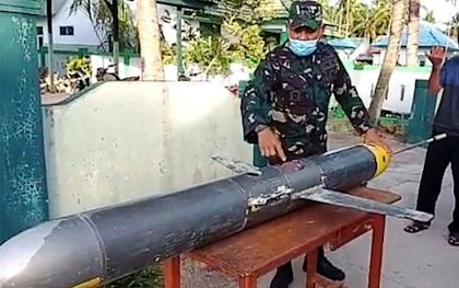 The UUV found in South Sulawesi was 225cm long, had a wingspan of 50cm and had a trailing antenna. Photo: Twitter@Jatosint