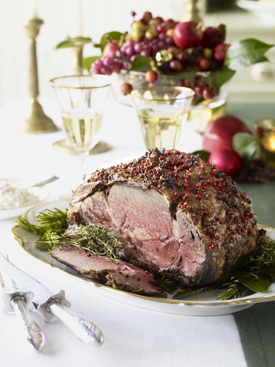 """<p>For another show-stopping beef meal, try this easy spin on prime rib. The cream gravy with roasted garlic and horseradish is unforgettable.</p><p><em><a href=""""https://www.goodhousekeeping.com/food-recipes/a10692/pepper-crusted-prime-rib-recipe-ghk1210/"""" rel=""""nofollow noopener"""" target=""""_blank"""" data-ylk=""""slk:Get the recipe for Pepper-Crusted Prime Rib »"""" class=""""link rapid-noclick-resp"""">Get the recipe for Pepper-Crusted Prime Rib »</a></em></p>"""