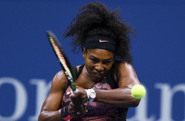 Serena Williams, pictured in action on September 8, 2015, is chasing the first calendar Grand Slam since Steffi Graf in 1988 and trying to match Graf's Open Era career record of 22 Slam singles titles (AFP Photo/Jewel Samad)