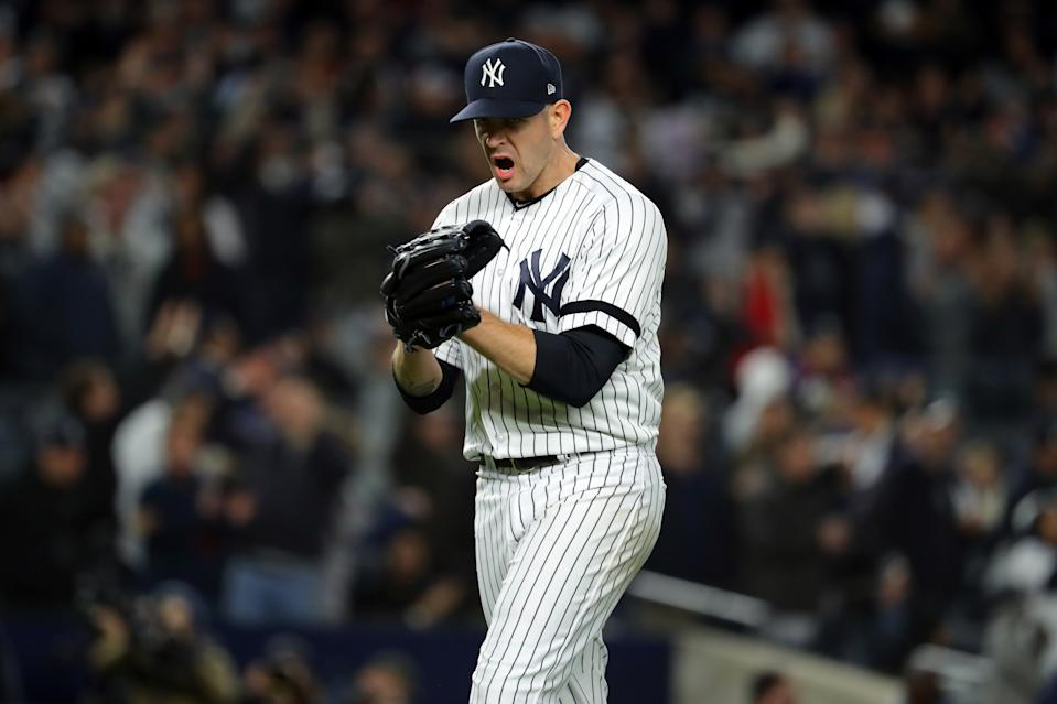 BRONX, NY - OCTOBER 18:  James Paxton #65 of the New York Yankees reacts to getting the final out of the top of the sixth inning during Game 5 of the ALCS between the Houston Astros and the New York Yankees at Yankee Stadium on Friday, October 18, 2019 in the Bronx borough of New York City. (Photo by Alex Trautwig/MLB Photos via Getty Images)
