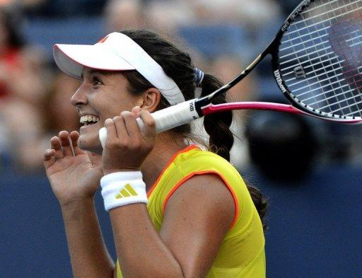 British teen Laura Robson reacts after defeating Kim Clijsters of Belgium during their 2012 US Open match at the USTA Billie Jean King National Tennis Center in New York on August 29. Robson won 7-6 (7/4), 7-6 (7/5)