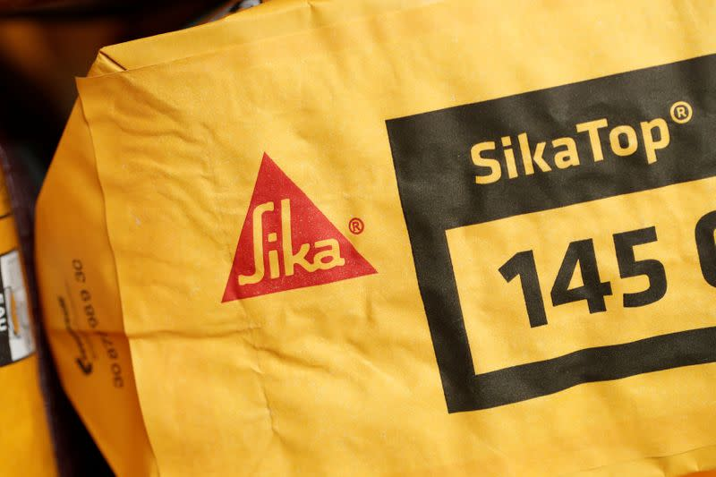The Swiss chemical group Sika company logo is pictured on a bag of SikaTop in their training center in Le Bourget near Paris