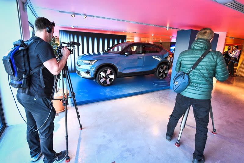 FILE PHOTO: Volvo presents its new electric car Volvo C40 Recharge, in Stockholm