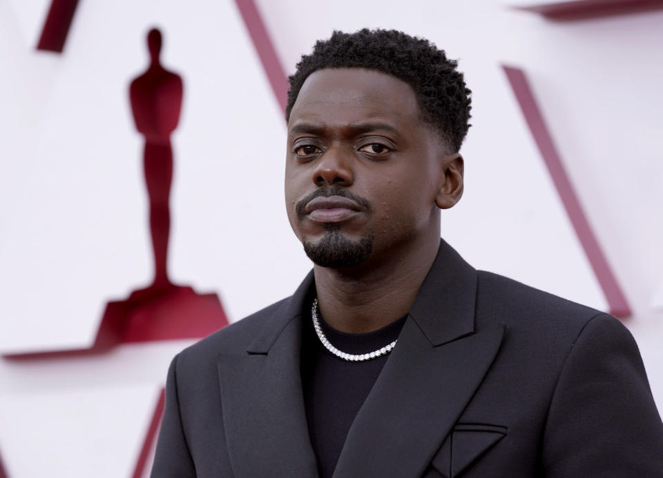 Daniel Kaluuya arrives at the Oscars on Sunday, April 25, 2021, at Union Station in Los Angeles. (AP Photo/Chris Pizzello, Pool)