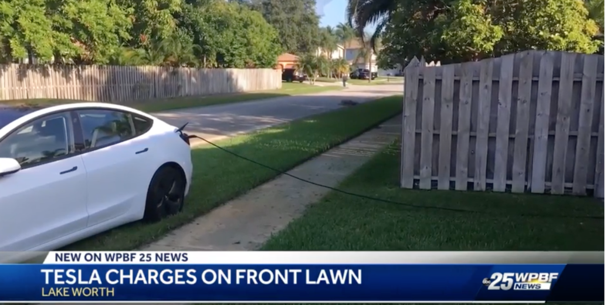 Florida Man Parks His Tesla Overnight on a Stranger's Lawn to Steal Electricity