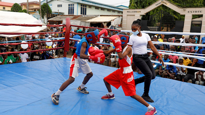 Young boxers takomg part in a youth tournament at Iyana-ipaja in Lagos, Nigeria - Saturday 26 June 2021