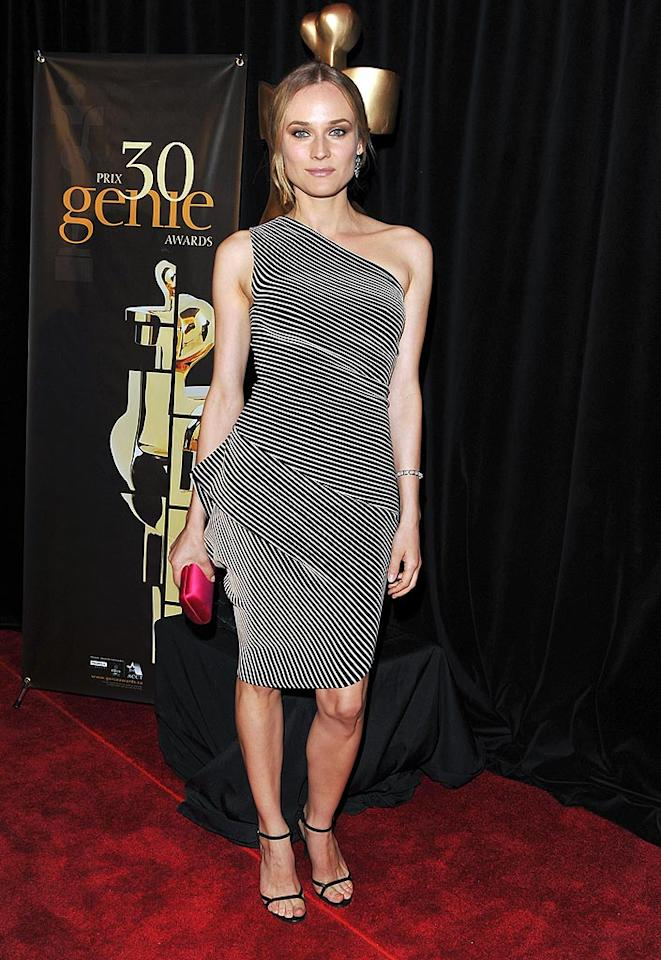"""Diane Kruger, best known for her role in """"Inglourious Basterds"""" and as Joshua Jackson's main squeeze, took Toronto by storm at the Genie Awards in a $1,000, asymmetrical RM by Roland Mouret """"Hebe"""" dress from the designer's Spring 2010 collection. George Pimentel/<a href=""""http://www.wireimage.com"""" target=""""new"""">WireImage.com</a> - April 12, 2010"""