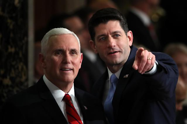 <p>Pence, left, and Ryan attend the State of the Union address on Jan. 30 in Washington, D.C. (Photo: Mark Wilson/Getty Images) </p>
