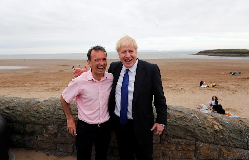 Conservative party leadership candidate Boris Johnson and Alun Cairns, Secretary of State in Wales pose for a photograph, before a hustings event with leadership rival Jeremy Hunt in Cardiff, Britain July 6, 2019. Frank Augstein/Pool via REUTERS