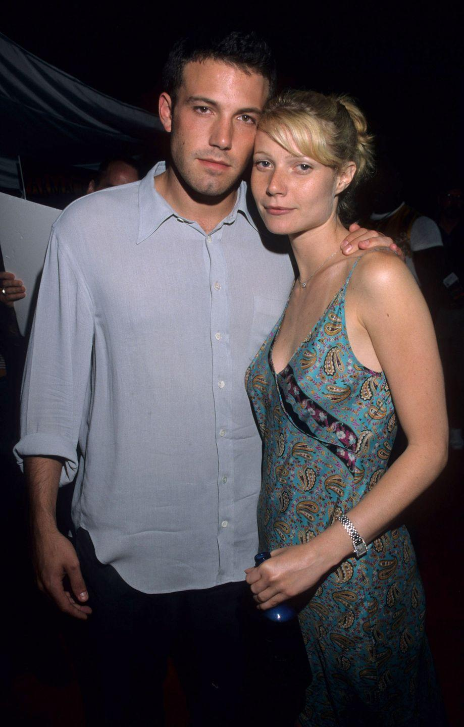<p>Paltrow and Affleck's romance was heating up during the filming of 1998 film <em>Shakespeare in Love</em>—she played the protagonist, Viola de Lesseps, while he played Ned Allen, an actor. The couple ended their romance in 2000, the same year their romance film <em>Bounce</em> was released.</p>