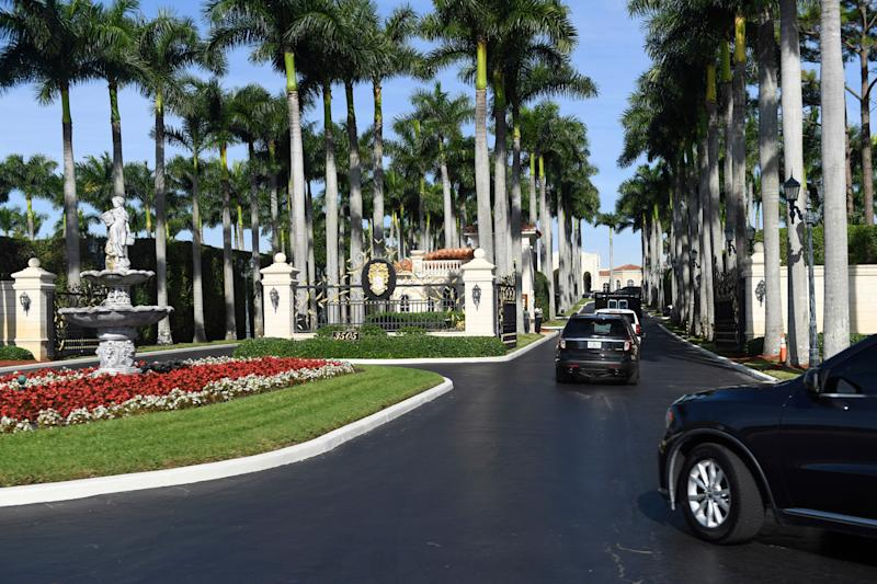 The president's motorcade arrives at Trump International Golf Club in West Palm Beach, Florida, on Nov. 27, 2019. Trump is spending Thanksgiving week at his nearby Mar-a-Lago estate. (Photo: Susan Walsh/ASSOCIATED PRESS)