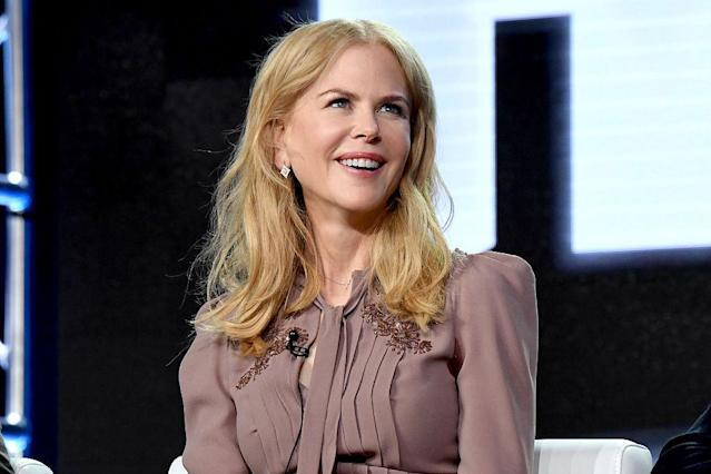 Nicole Kidman dressed like her <em>Big Little Lies</em> character during a panel discussion about the HBO show on Jan. 14, 2017, in Pasadena, Calif. (Photo: Jeff Kravitz/FilmMagic)