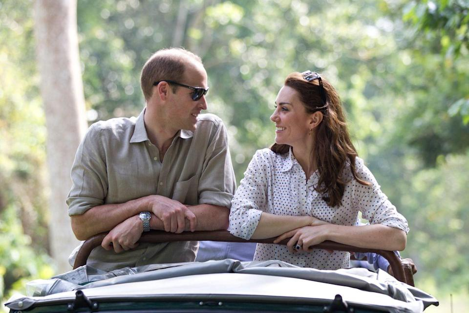 <p>Will and Kate ride in an open-air jeep on a safari in Guwahati, India.<br></p>