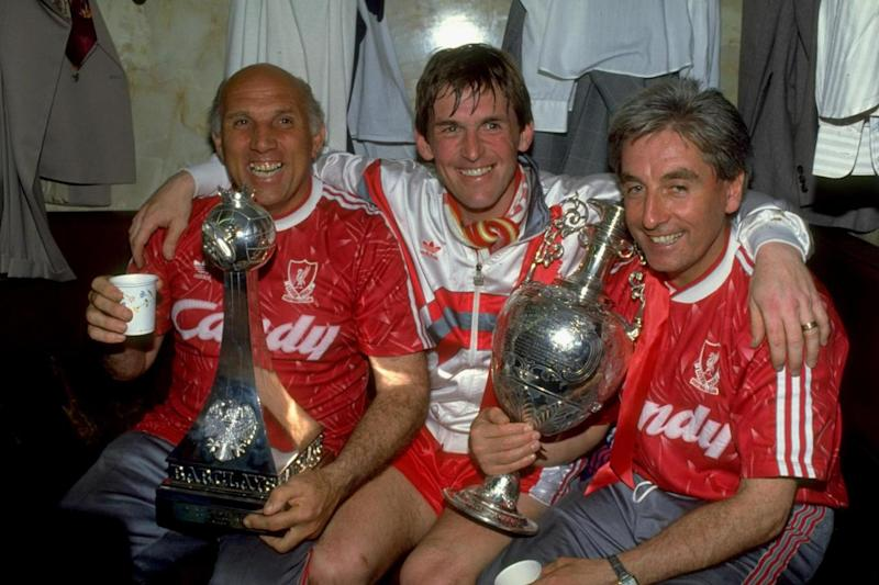 Liverpool Manager Kenny Dalglish celebrates with coaches Ronnie Moran (left) and Roy Evans after winning the league title in 1990 (Dan Smith/Allsport)