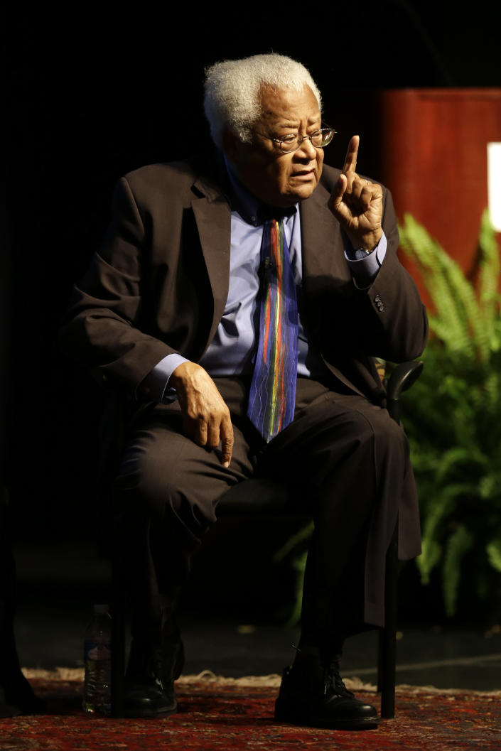 FILE - In this Sept. 17, 2015, file photo, the Rev. James Lawson speaks in Murfreesboro, Tenn. Lawson, who led nonviolence workshops during the civil rights struggles of the 1960s, said he's encouraged by efforts to maintain equality at the polls amid what he see as attempts to thwart it. (AP Photo/Mark Humphrey, File)