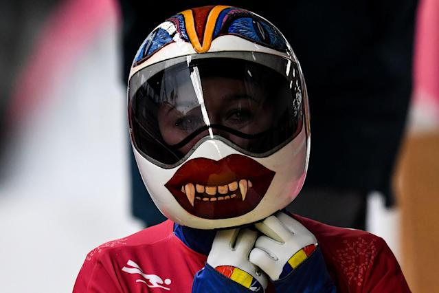 <p>Romania's Maria Marinela Mazilu may have the helmet that wins the unofficial award for 'Most likely to end up in a horror movie.' </p>