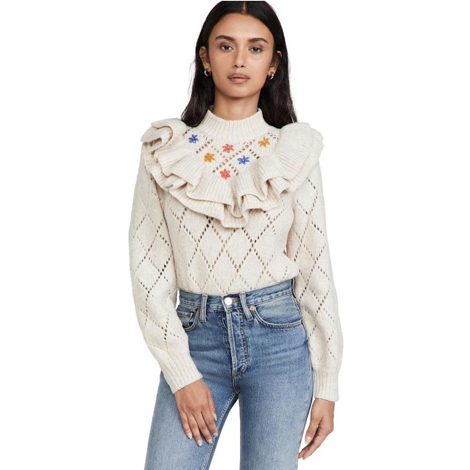 """You'll get so much wear out of this ruffled turtleneck sweater, which can be styled with everything from <a href=""""https://www.glamour.com/gallery/best-black-leggings-to-buy-now?mbid=synd_yahoo_rss"""" rel=""""nofollow noopener"""" target=""""_blank"""" data-ylk=""""slk:leggings"""" class=""""link rapid-noclick-resp"""">leggings</a> to skinny jeans. $242, Shopbop. <a href=""""https://www.shopbop.com/oriana-saylor/vp/v=1/1587562613.htm"""" rel=""""nofollow noopener"""" target=""""_blank"""" data-ylk=""""slk:Get it now!"""" class=""""link rapid-noclick-resp"""">Get it now!</a>"""