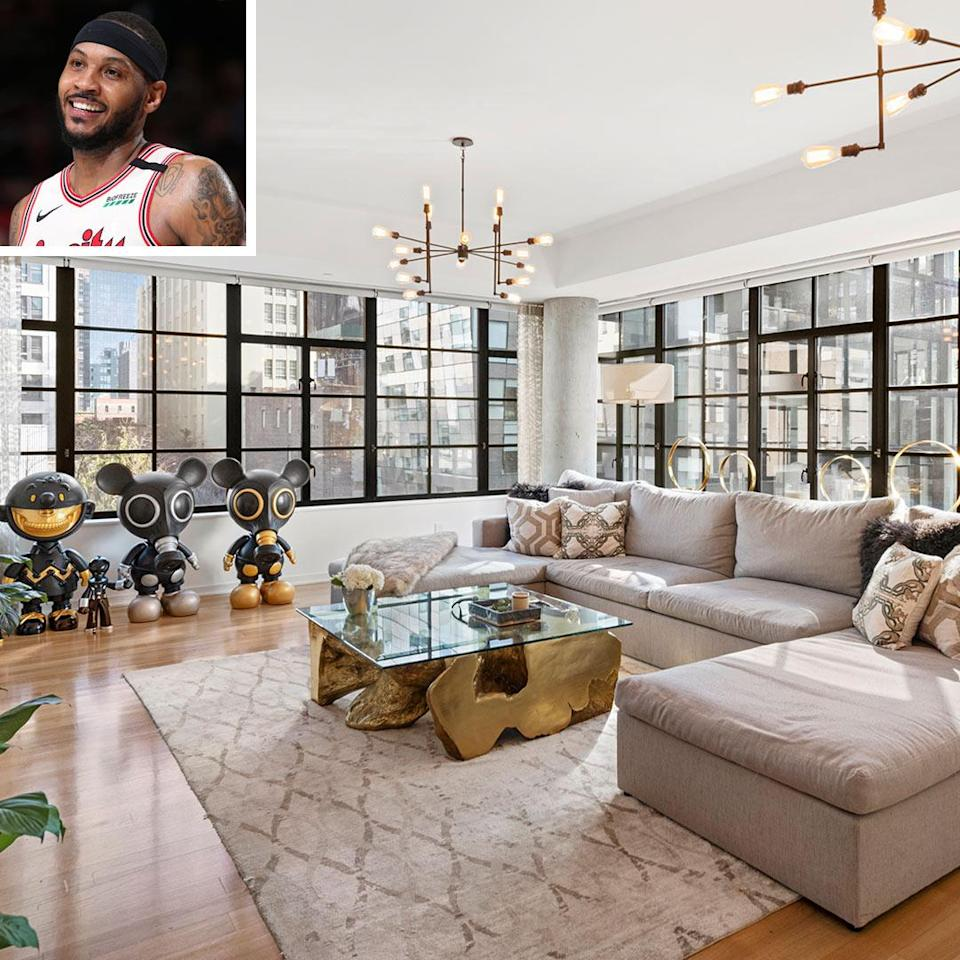 """<p>The NBA star listed his luxury Manhattan property overlooking New York City's High Line park back in February.</p> <p>The former New York Knick, 36, who now plays for the Portland Trailblazers is asking $12.85 million for the five-bedroom, four-bathroom condo located in the Chelsea neighborhood. Kevin Mallen and Michael Graves of Compass hold <a href=""""https://www.compass.com/listing/508-west-24th-street-unit-5th-floor-manhattan-ny-10011/383976186560200561/"""" rel=""""nofollow noopener"""" target=""""_blank"""" data-ylk=""""slk:the listing"""" class=""""link rapid-noclick-resp"""">the listing</a>.</p> <p>The unit is the building's largest, spanning 4,556 square feet with 10-foot ceilings, white oak floors, and over-sized casement windows that flood the apartment with natural light.</p> <p>The unit """"is accessible via a private elevator landing that opens up to a wide entry foyer,"""" according to the listing. It has 360-degree views and a private balcony overlooking one of New York's most unique parks.</p> <p><a href=""""https://people.com/home/carmelo-anthony-lists-his-12-85-million-new-york-city-condo/"""" rel=""""nofollow noopener"""" target=""""_blank"""" data-ylk=""""slk:See more photos of Carmelo Anthony's home."""" class=""""link rapid-noclick-resp"""">See more photos of Carmelo Anthony's home.</a> </p>"""