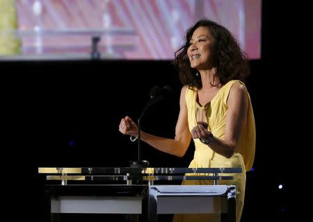 Actress Michelle Yeoh speaks on stage at the 8th Annual Governors Awards in Los Angeles