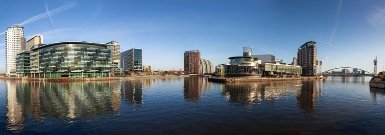 Panoramic view of Salford Quays, with BBC Manchester, Media City and Lowery theatre.