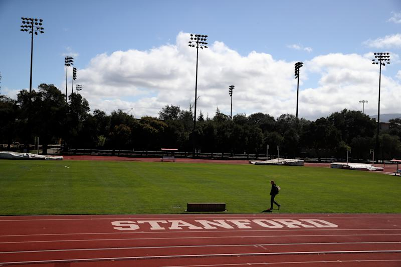 STANFORD, CA - MARCH 12: The Stanford logo is displayed on a track on the Stanford University campus on March 12, 2019 in Stanford, California. More than 40 people, including actresses Lori Loughlin and Felicity Huffman, have been charged in a widespread elite college admission bribery scheme. Parents, ACT and SAT administrators and coaches at universities including Stanford, Georgetown, Yale, and the University of Southern California have been charged. (Photo by Justin Sullivan/Getty Images)