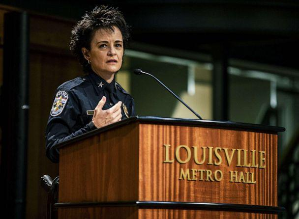PHOTO: Chief Erika Shields made some brief comments after being sworn-in as the new LMPD police chief, Jan. 19, 2021, in Louisville, Ky.  (Jeff Faughender/Courier Journal/Imagn via USA Today Network )