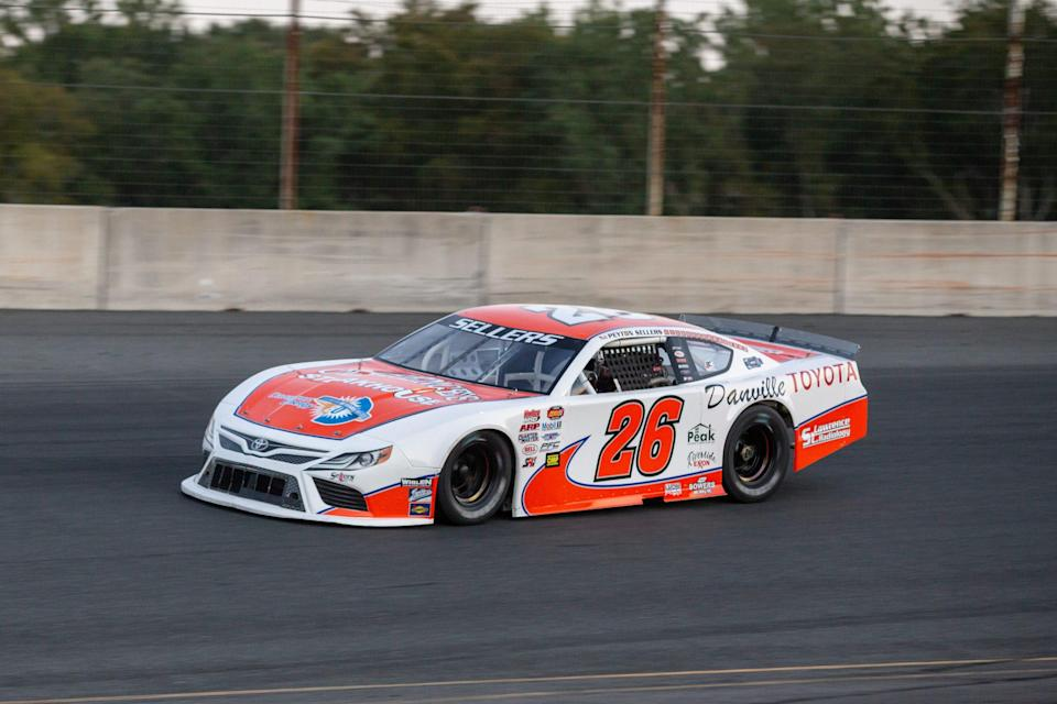 Peyton Sellers, driver of the Clarence's Steakhouse and Danville Toyota #26 car, in the Late Model race during the NASCAR Advanced Auto Parts Weekly Series at Dominion Raceway on September 18, 2021 in Woodford, Virginia. (Parker Michels-Boyce/NASCAR)