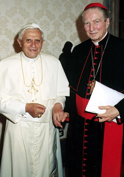 FILE -- In this Friday May 27, 2005 file photo released by the Vatican's L'Osservatore Romano daily, Pope Benedict XVI poses for a photo with the former archbishop of Milan, Cardinal Carlo Maria Martini at the Vatican. Martini, a rare liberal within the highly conservative Catholic Church hierarchy who was nevertheless long considered a papal contender, has died at age 85. He had been battling Parkinson's disease for years. His death Friday Aug. 31, 2012 was announced by the Milan archdiocese. (AP Photo/L'Osservatore Romano)