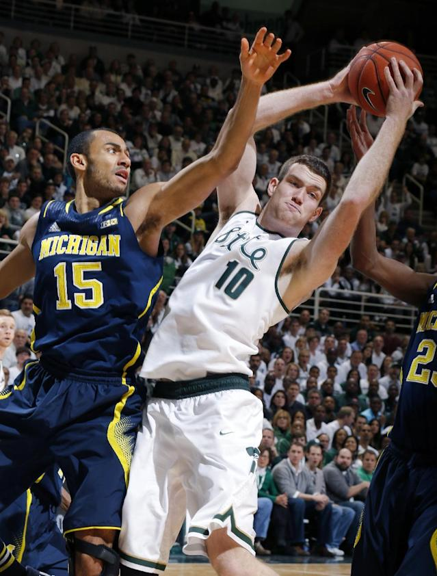 Michigan State's Matt Costello (10) and Michigan's Jon Horford (15) fight for a rebound during the first half of an NCAA college basketball game, Saturday, Jan. 25, 2014, in East Lansing, Mich. (AP Photo/Al Goldis)