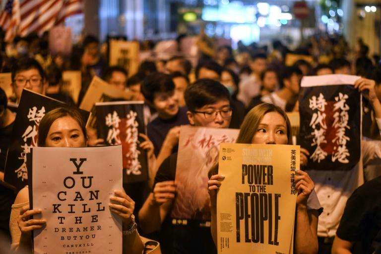 Pro-democracy protesters attend an evening rally in central Hong Kong
