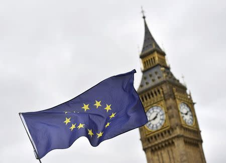 A protester waves a European Union flag outside Parliament after Britain's Prime Minister Theresa May triggered the process by which the United Kingdom will leave the Euopean Union, in London