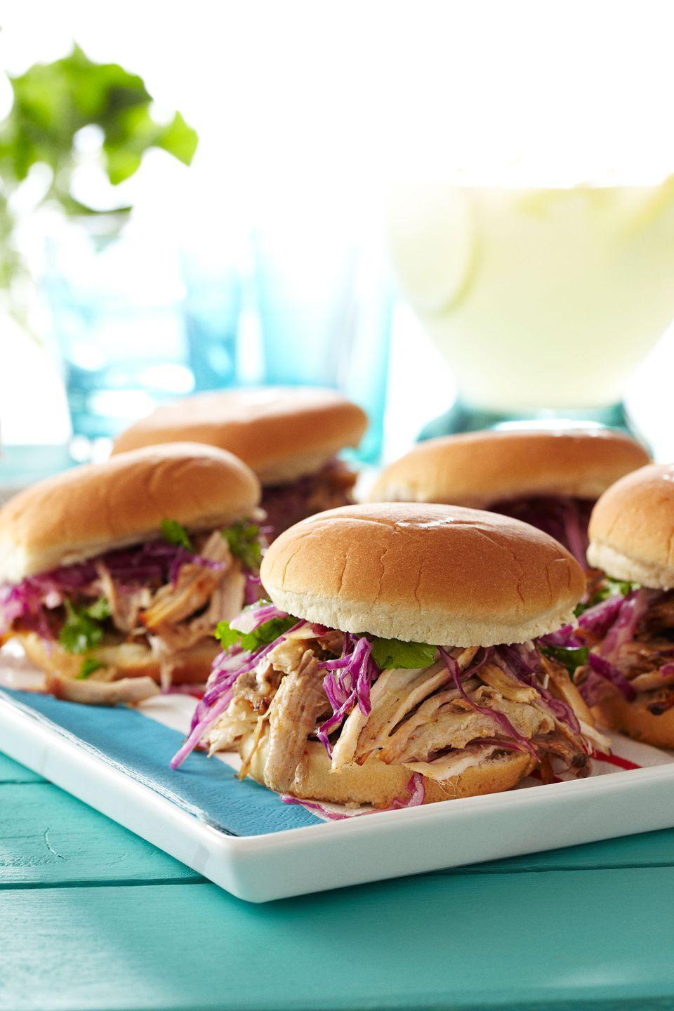 """<p>It doesn't get much easier than these slow-cooked sandwiches topped with a quickie vinegar sauce. Looking for a challenge? We also have Bobby Flay's smoker instructions for the seasoned grill master. </p><p><a href=""""https://www.goodhousekeeping.com/food-recipes/a13789/pulled-pork-black-pepper-vinegar-recipe-ghk0712/"""" rel=""""nofollow noopener"""" target=""""_blank"""" data-ylk=""""slk:Get the recipe for Pulled Pork with Black Pepper Vinegar »"""" class=""""link rapid-noclick-resp""""><em>Get the recipe for Pulled Pork with Black Pepper Vinegar »</em></a></p>"""