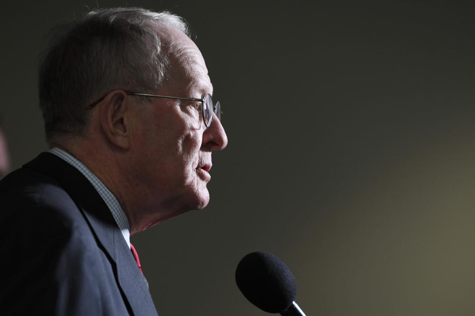 Sen. Lamar Alexander, R-Tenn., talks with reporters following a Republican policy lunch on Capitol Hill in Washington, Thursday, March 19, 2020. (AP Photo/Susan Walsh)