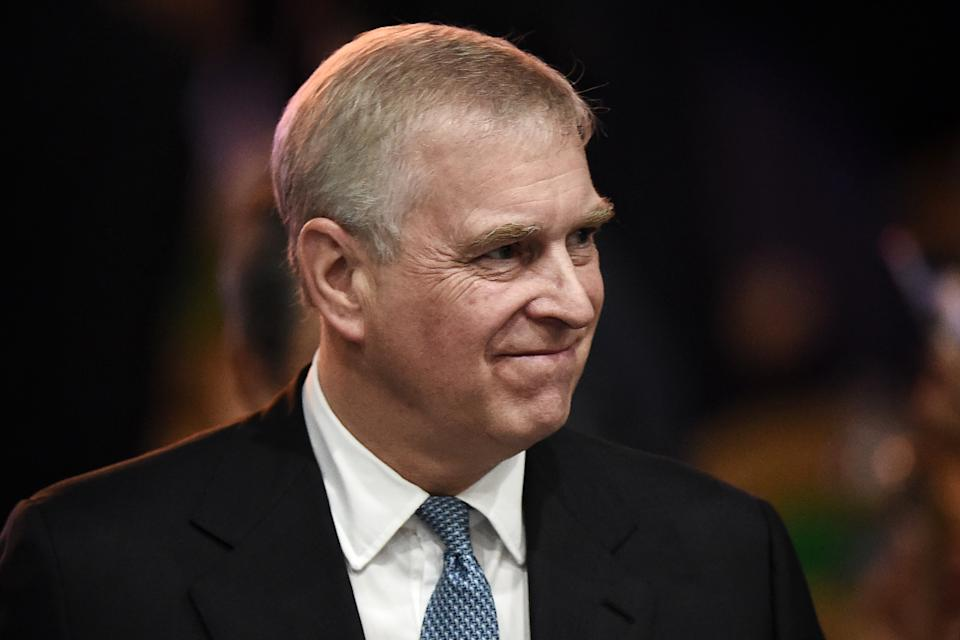 Britain's Prince Andrew, Duke of York leaves after speaking at the ASEAN Business and Investment Summit in Bangkok on November 3, 2019, on the sidelines of the 35th Association of Southeast Asian Nations (ASEAN) Summit. (Photo by Lillian SUWANRUMPHA / AFP) (Photo by LILLIAN SUWANRUMPHA/AFP via Getty Images)