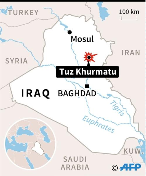 Map locating Tuz Khurmatu in Iraq, where many people died in a suicide attack on a busy market (AFP Photo/AFP)