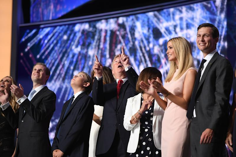 CLEVELAND, OH - JULY 21: The family of Republican Presidential candidate Donald Trump celebrate, after his nomination speech to the Republican National Convention on Thursday, July 21, 2016. (Photo by Toni L. Sandys/The Washington Post via Getty Images)