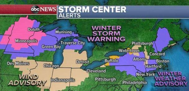 PHOTO: Winter storm warnings and winter weather advisories are in place in the Great Lakes and Northeast on Sunday. (ABC News)