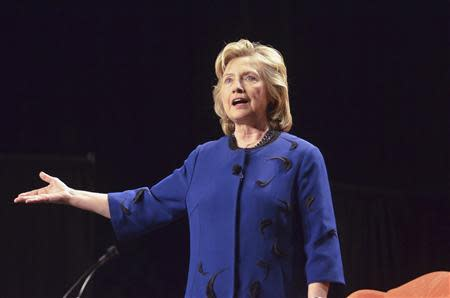 Former U.S. Secretary of State Hillary Clinton speaks at the University of Miami in Florida