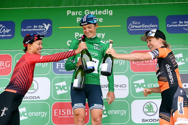 Celebrations on the final podium at the OVO Energy Women's Tour
