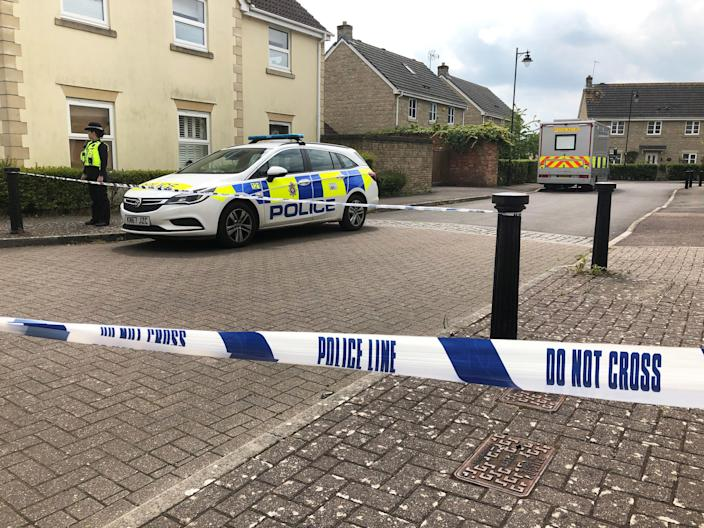The scene where the body of Ellie Gould was discovered at Springfield Drive in Calne on Friday, as a teenage boy has appeared in court charged with the murder of the 17-year-old.