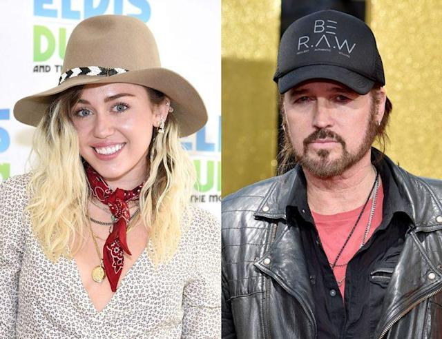 Miley Cyrus and her dad, Billy Ray Cyrus. (Photo: Getty Images)