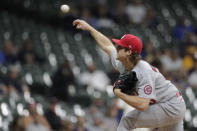 St. Louis Cardinals' Jake Woodford pitches during the first inning of a baseball game against the Milwaukee Brewers Tuesday, Sept. 21, 2021, in Milwaukee. (AP Photo/Aaron Gash)