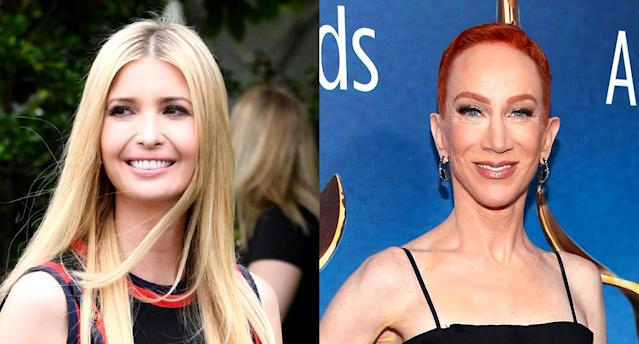 Kathy Griffin is slammingIvanka Trump for a tweet about the death of designer Kate Spade. (Photos: Getty Images)