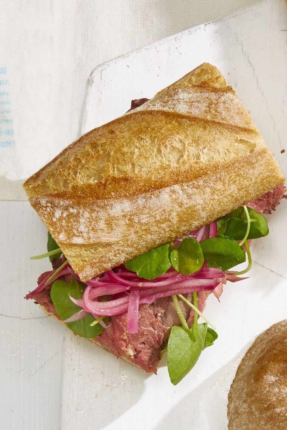 "<p>Pickled onions, prepared horseradish, and Dijon mustard lend tons of flavor to this hearty sandwich. You don't even need cheese.</p><p><em><a href=""https://www.goodhousekeeping.com/food-recipes/a21731209/roast-beef-baguette-recipe/"" rel=""nofollow noopener"" target=""_blank"" data-ylk=""slk:Get the recipe for Roast Beef Baguette »"" class=""link rapid-noclick-resp"">Get the recipe for Roast Beef Baguette »</a></em></p>"