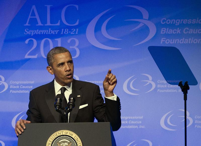 President Barack Obama addresses the 43rd annual Congressional Black Caucus Foundation's Legislative Conference dinner in Washington, Saturday, Sept. 21, 2013. (AP Photo/Cliff Owen)