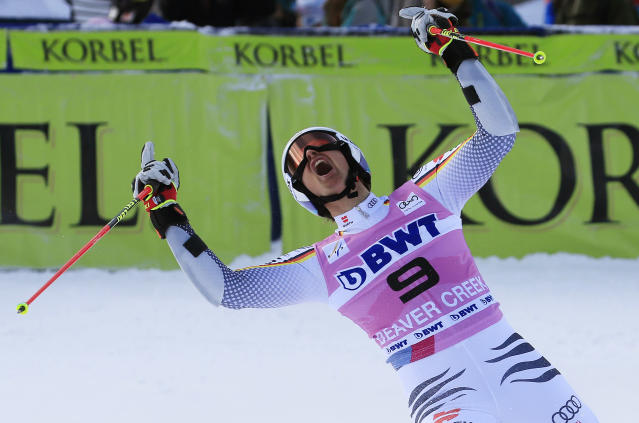 Germany's Stefan Luitz celebrates after the second run of a men's World Cup giant slalom skiing race Sunday, Dec. 2, 2018, in Beaver Creek, Colo. (AP Photo/Nathan Bilow)