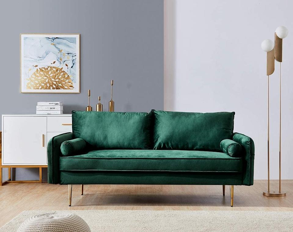 <p>In need of some extra seating space? This luscious green <span>Sleerway Velvet Couch</span> ($220) will elevate any room you place it in, whether that's the living room or your home office.</p>