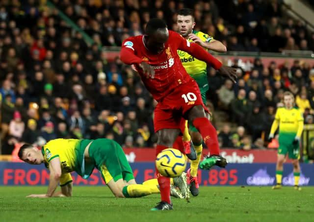Sadio Mane scored Liverpool's winner in their 1-0 victory over Norwich at Carrow Road (Adam Davy/PA)