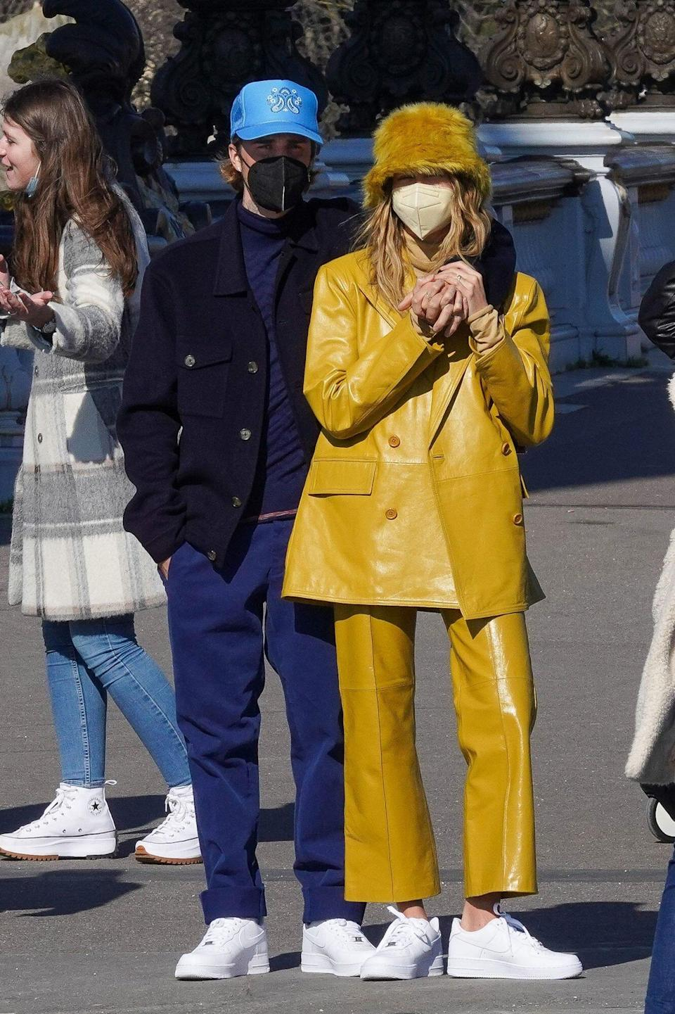 Hailey Bieber Big Color Trend and Fuzzy Bucket Hat